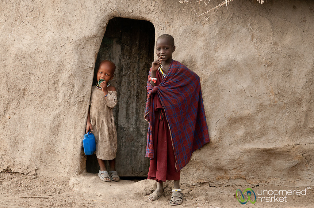 Masai Kids at the Door of Hut - Lake Manyara, Tanzania