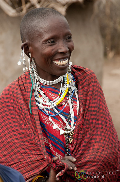 Masai Woman in Laughter - Lake Manyara, Tanzania