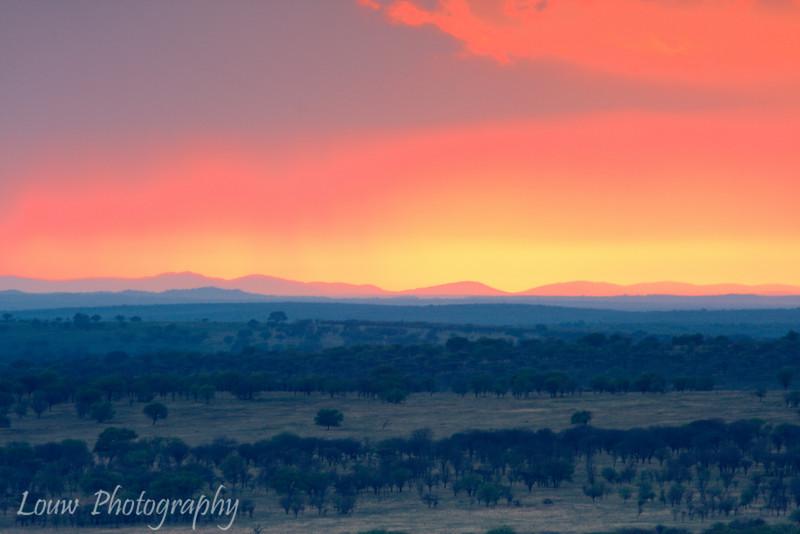 "Sunset in the <a target=""NEWWIN"" href=""http://en.wikipedia.org/wiki/Serengeti"">Serengeti</a>, Tanzania"