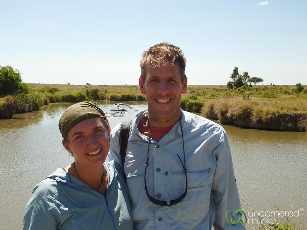 Audrey and Dan at the Hippo Pool - Serengeti, Tanzania