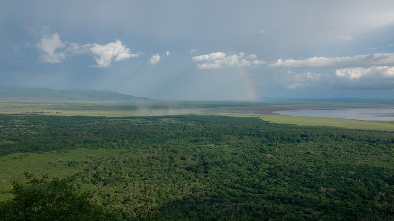 Camping on the edge of Lake Manyara