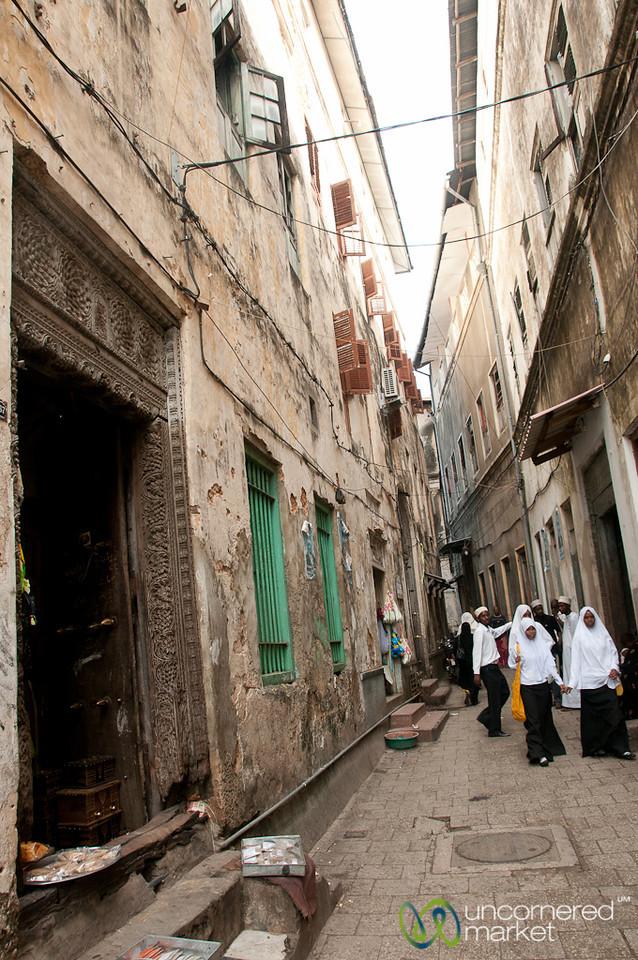 Walking Down Old Street in Stone Town - Zanzibar, Tanzania