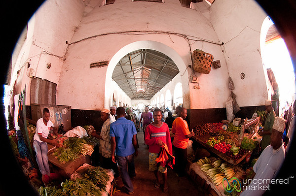 Fisheye Photo Inside Darjani Market - Stone Town, Zanzibar