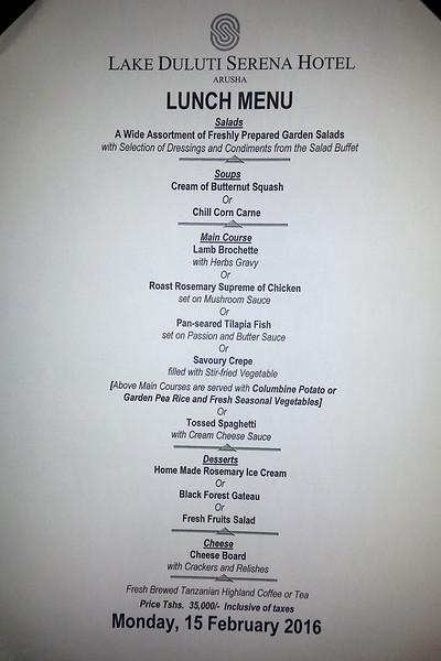 Lunch menu, Lake Duluti Serena Hotel, Arusha, Tanzania, Africa.  February 2016