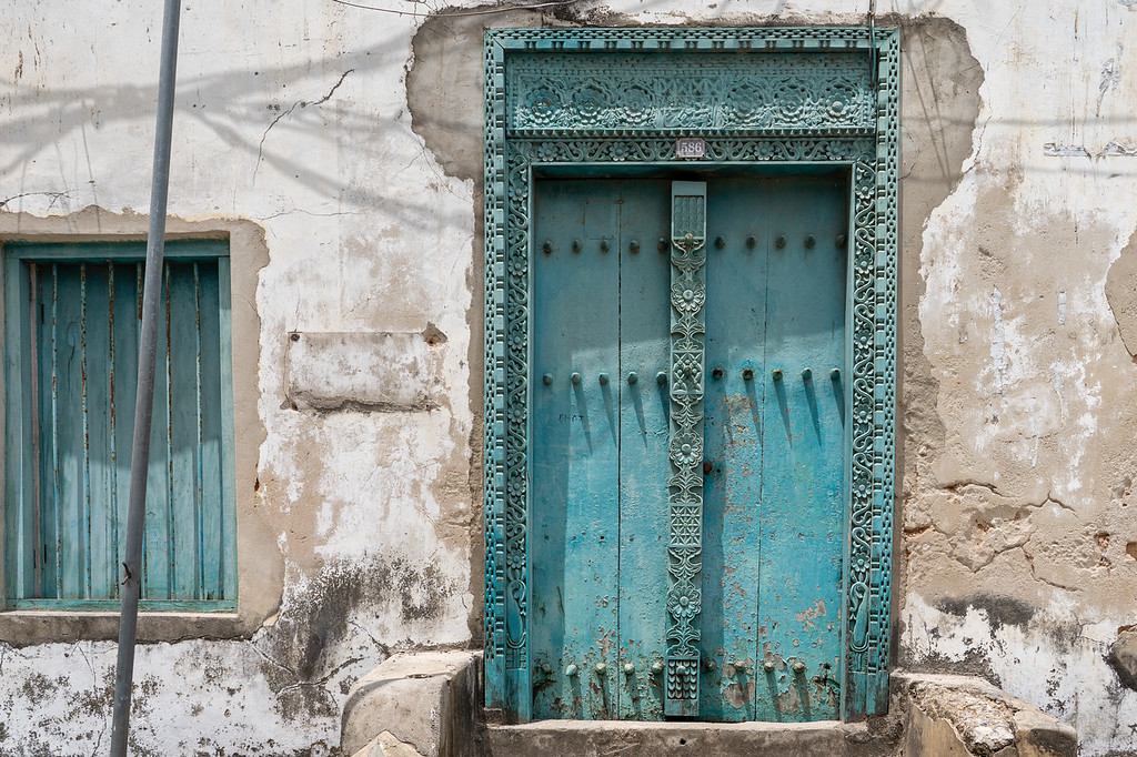 Carved wooden door in Zanzibar