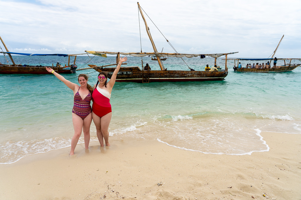 Girls on a sand bar in Zanzibar