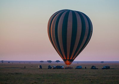 Serengeti National Park, Tanzania Heating up our hot air balloon before our sunrise flight over the Serengeti in Tanzania.