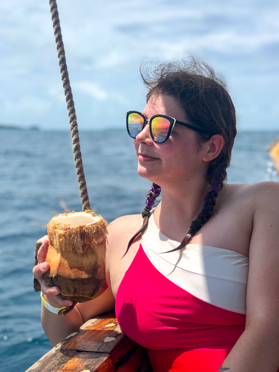 Amanda and a fresh coconut