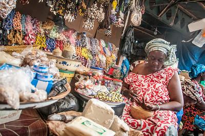 Female vendor at a market in Banjul, Gambia