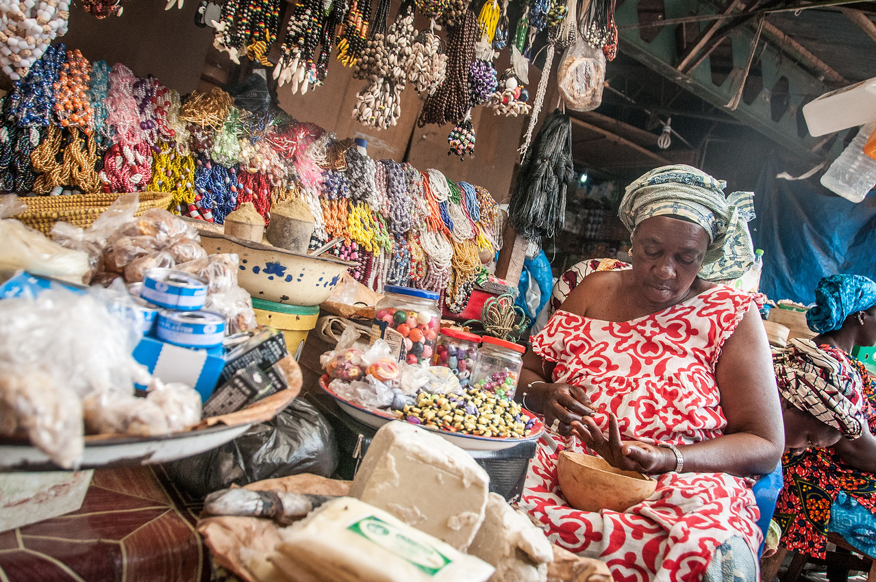 Female vendor at a market in Banjul, Gambia