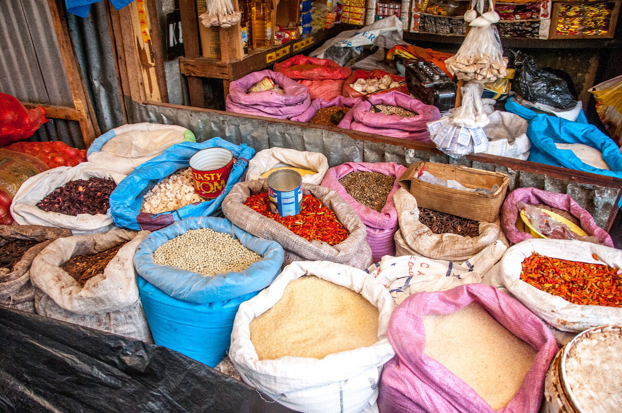 Vendor stall selling spices in Banjul, Gambia