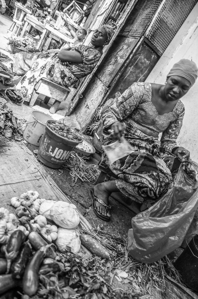 Woman selling vegetables in the market - Banjul, Gambia