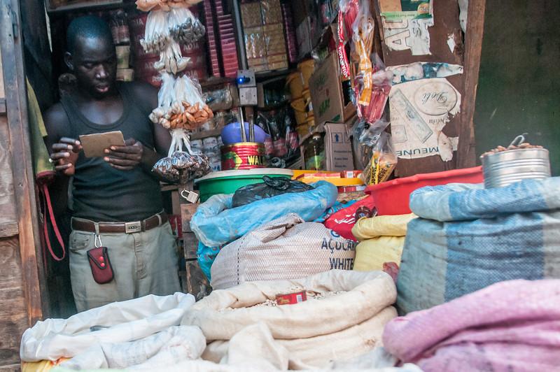 Vendor stall in the market in Banjul, Gambia