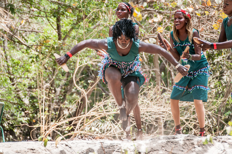 Dancers in Makasutu Cultural Forest in Banjul, Gambia