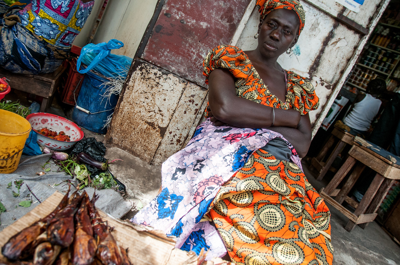 Woman selling fish in the market in Banjul, Gambia
