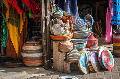 Hand woven baskets for sale in Banjul, Gambia