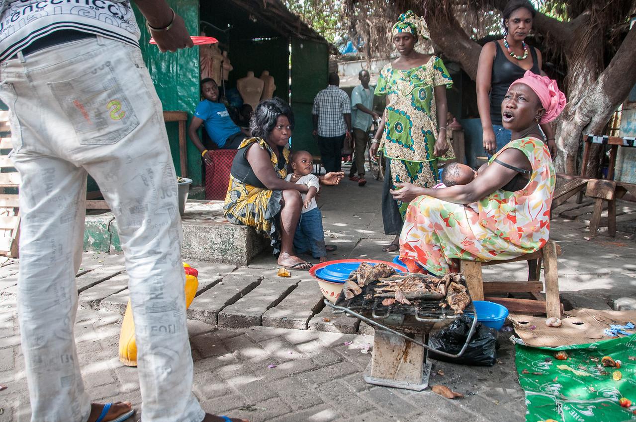 Female vendors at a market in Banjul, Gambia