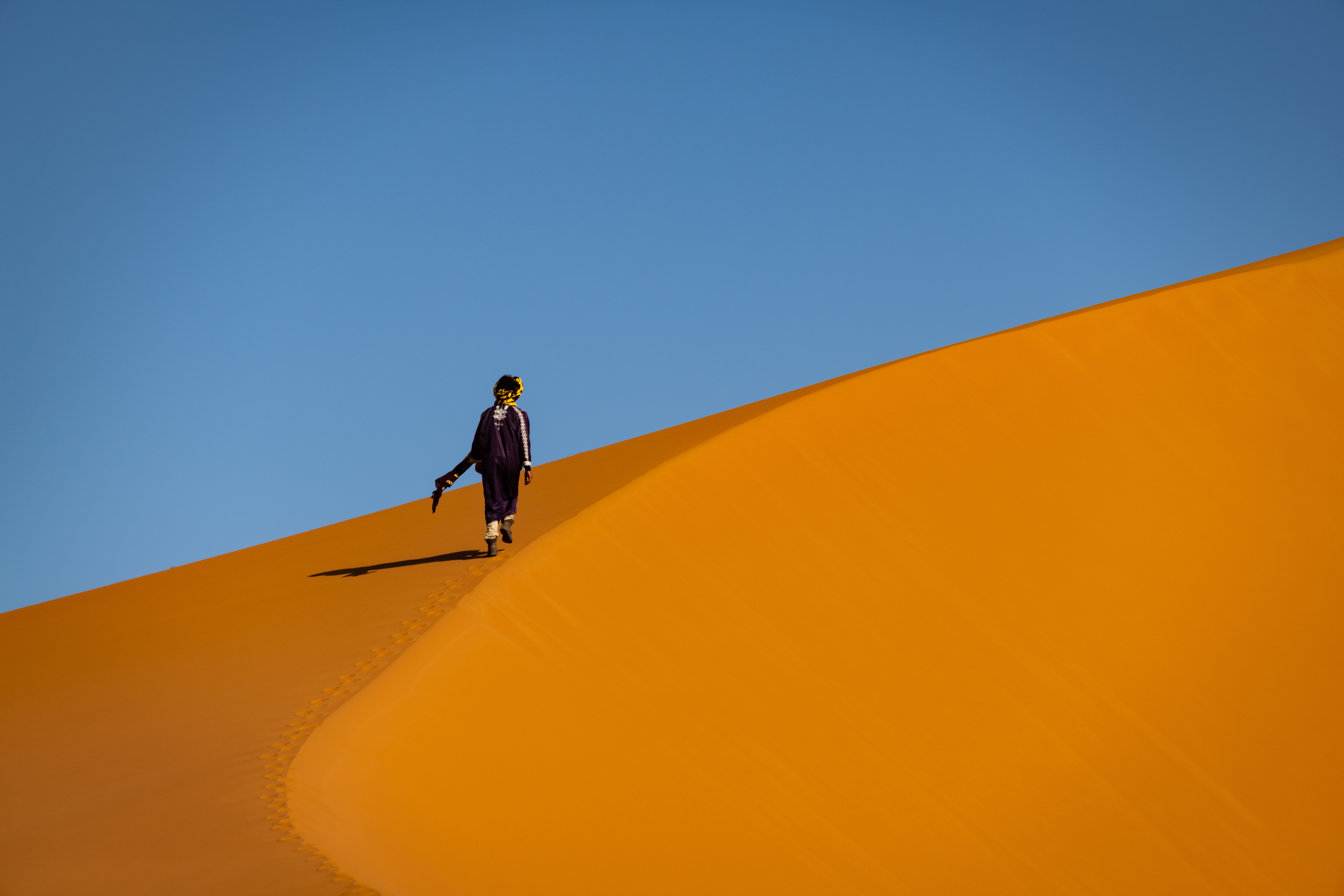 Walking up a dune