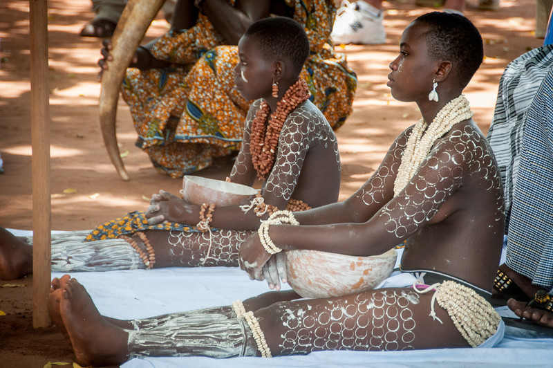 Young locals during traditional performance in Lome, Togo