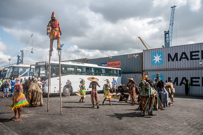 Stilt walkers in Lome, Togo
