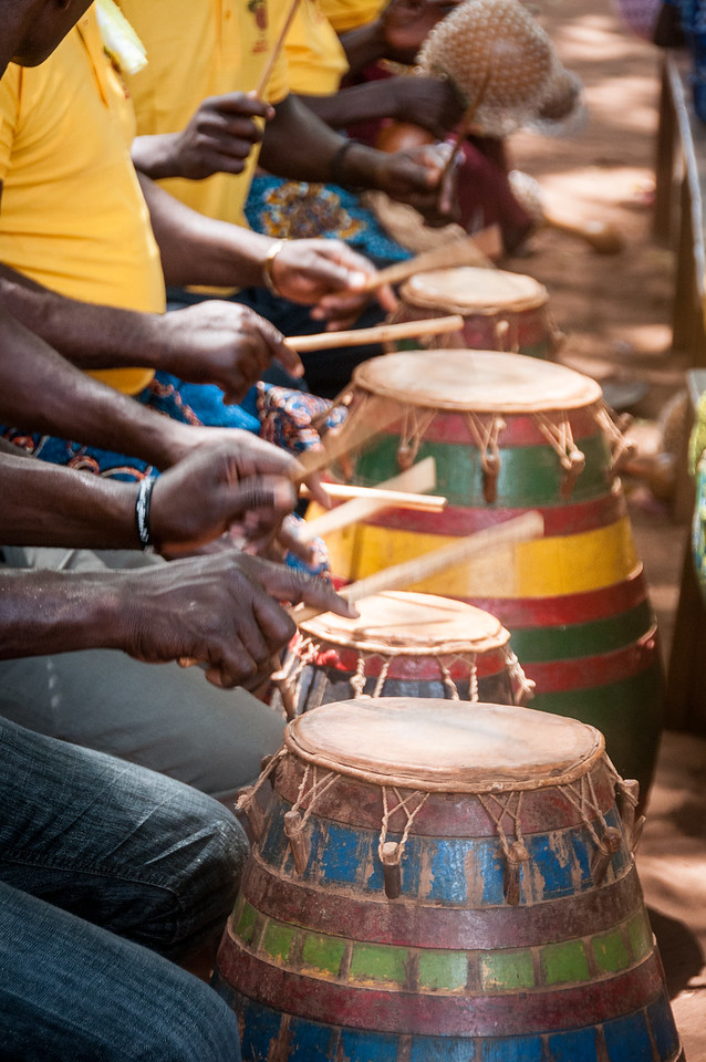 Drummers during traditional performance in Lome, Togo