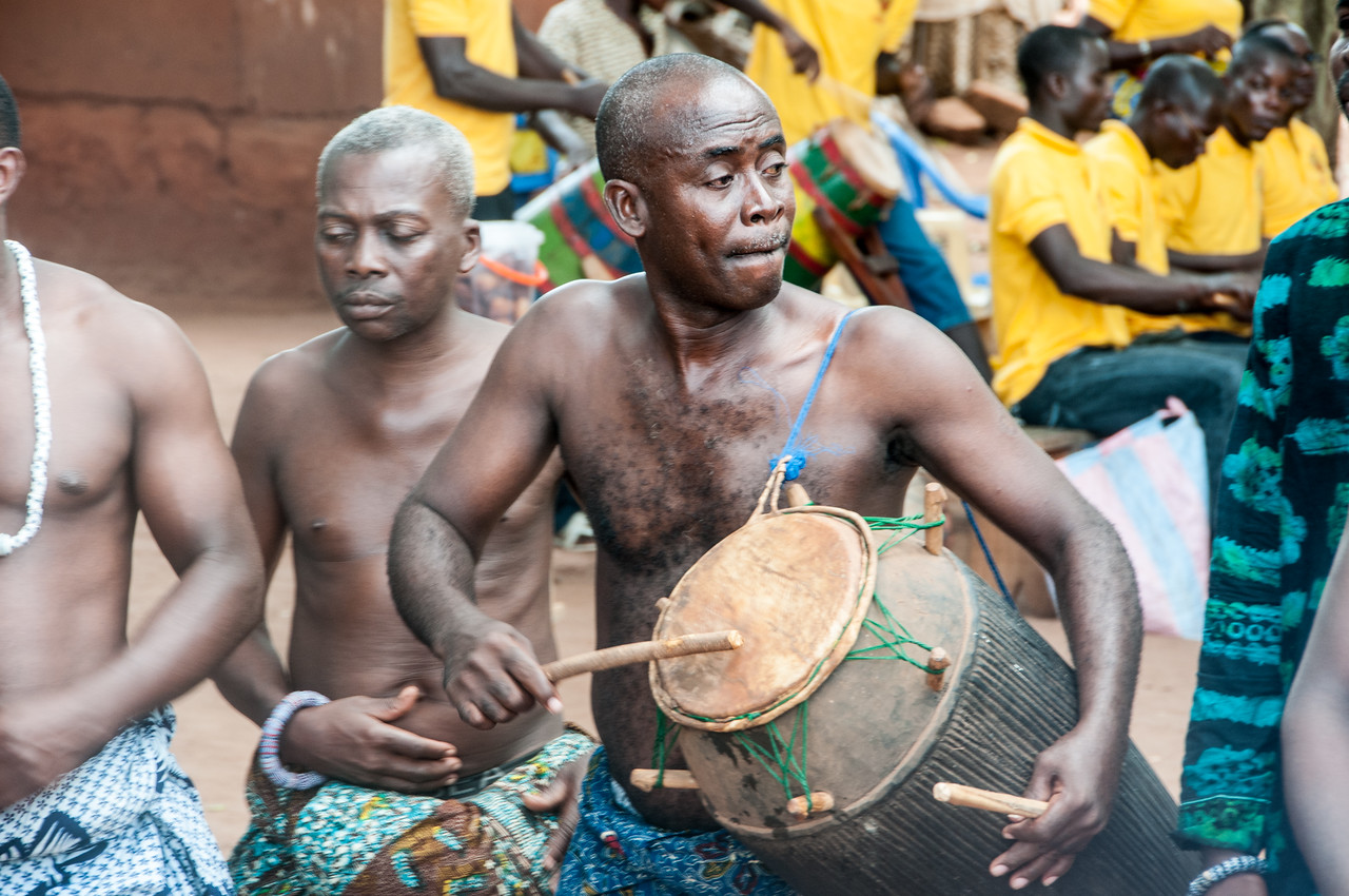 Locals drum to performance in Lome, Togo