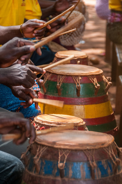 Drums playing during traditional performance in Lome, Togo