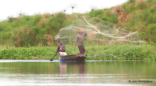 local fishermen with papyrus backdrop along the upper Nile