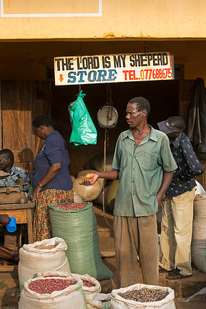 """I shall not want...""  Buying and selling at The Lord Is My Sheperd Store. Lira, Uganda"