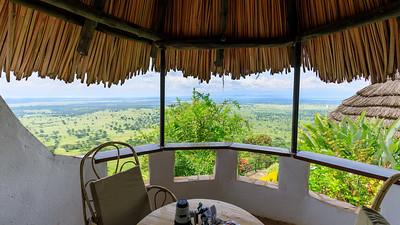 Ausblick aus meiner Hütte in der Kingfisher Lodge, auf den QENP, Kichwemba, Uganda