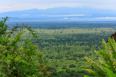 Morgenlicher Ausblick von der Kingfisher Lodge,auf QENP, Kazinga Channel und Ruwenzori, Kichwemba, Uganda