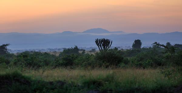 Sonnenaufgang über dem Ostgebirge des Afrikanischen Grabenbruchs, QENP, Uganda