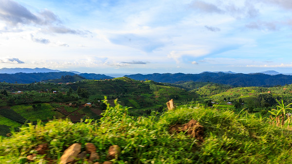 Valleys and villages at the border of the Bwindi Impenetrable NP, Uganda