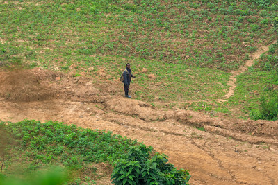 Farmer in the mountains of Kabale District, Uganda