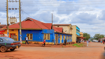 Blue building in Naranbhai Road, legacy of indian architecture in Jinja, Uganda