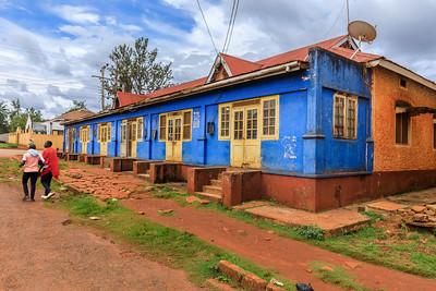 Blue building in Naranbhai Road, legacy of indian architecture in Jinja, Uganda