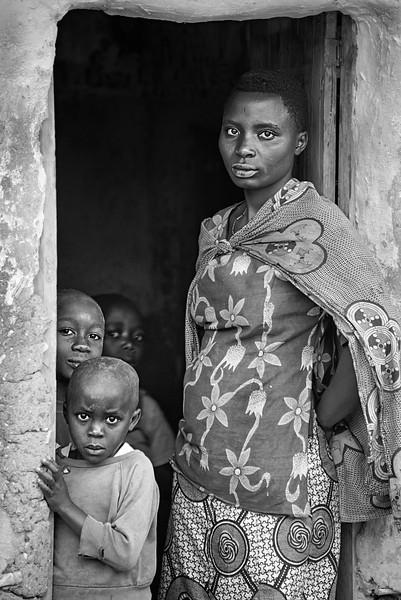 Mother and children in doorway