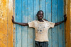 Boy in church doorway. Kitgum district, northern Uganda