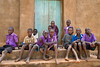 School boys on church steps. Matuumucath, Uganda