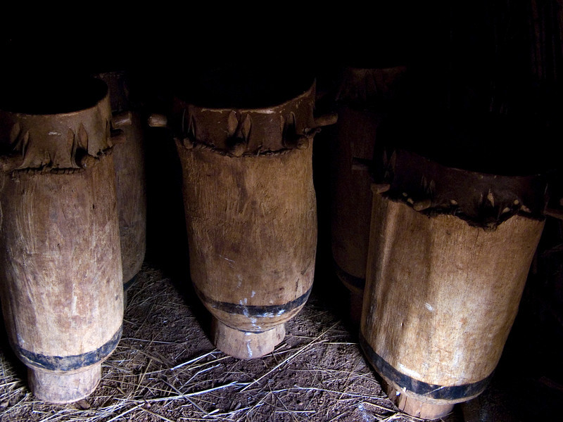 Drums, royal enclosure, Gishora, Burundi.  Near Gitega is the royal enclosure, where one can see traditional building methods as well as the sacred drums.