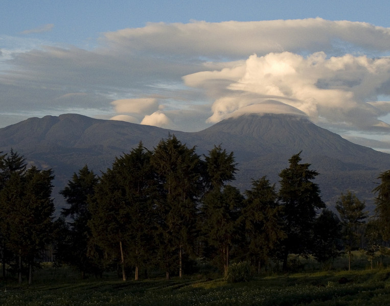 Parc National des Volcans, Rwanda.  The weather at sunup was lovely, but it soon got cloudy and drizzly.