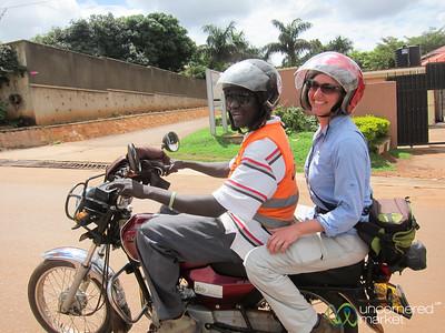Audrey on the Back of a Boda Boda (Motorbike) - Kampala, Uganda