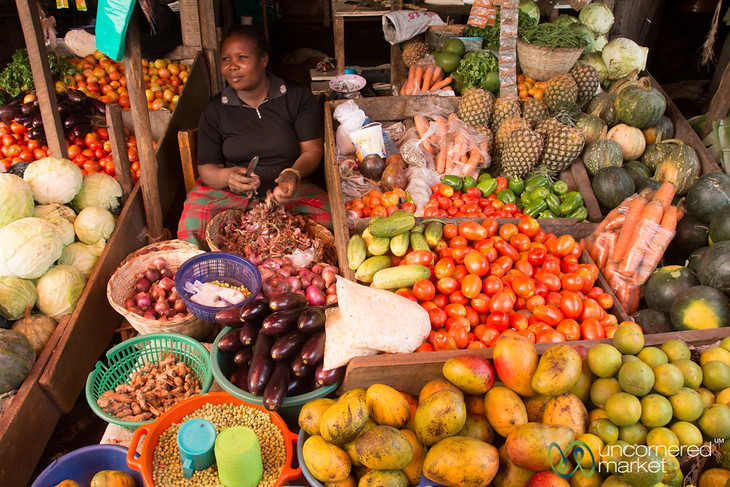 Fruit and Vegetable Stand, Mengo Market - Kampala, Uganda