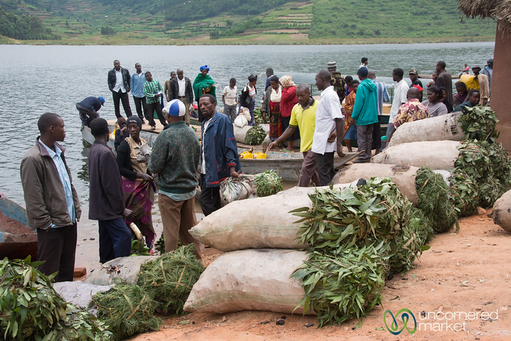 Sacks of Charcoal at Lake Bunyonyi Market - Uganda