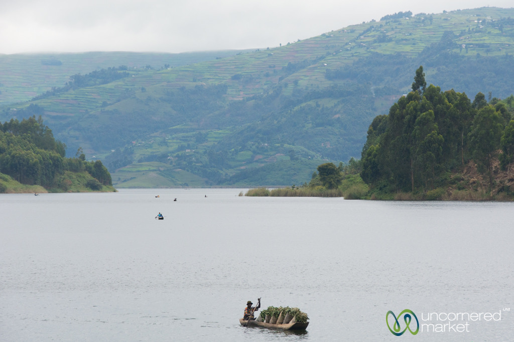 Boats Bringing Charcoal to Lake Bunyonyi Market - Uganda