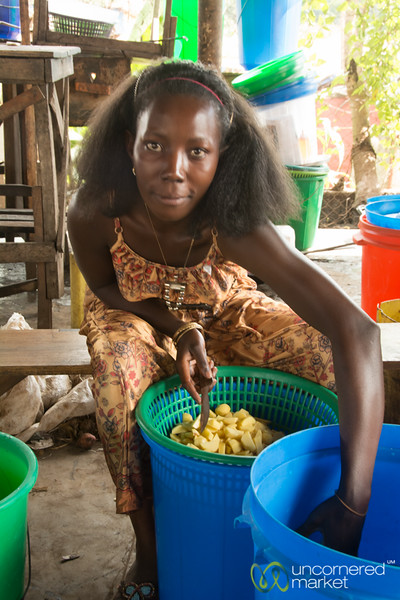 Market Vendor, Chopping Potatoes - Kampala, Uganda