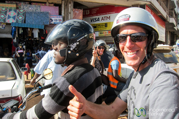 Dan Enjoying His Boda Boda Tour of Kampala - Uganda