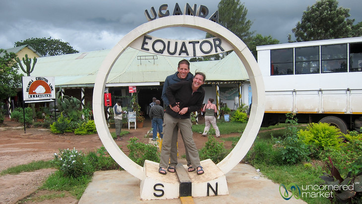 Dan and Audrey at the Equator in Uganda