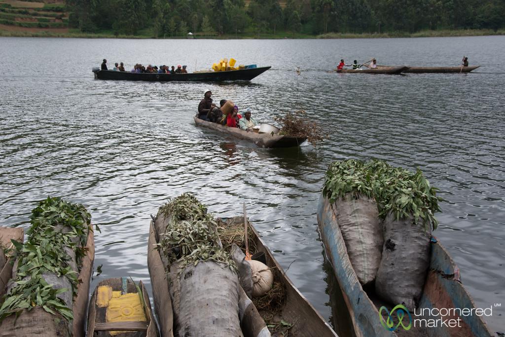Boats Bring Charcoal to Lake Bunyonyi Market - Uganda