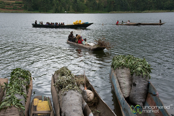 Boats Bring Charcoal to Lake Bunyonyi Market - Uganda